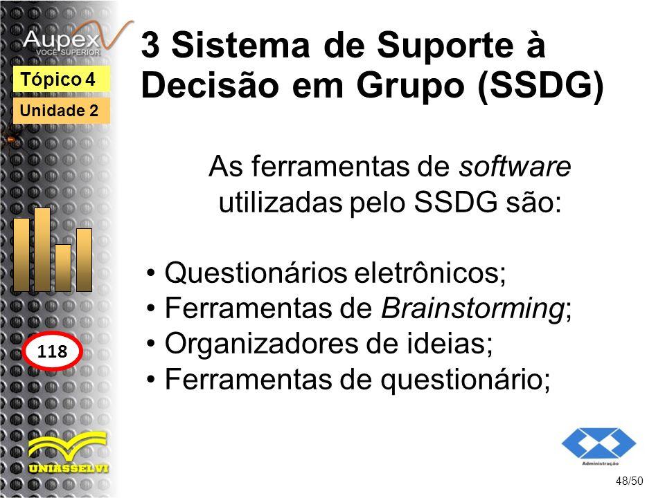 3 Sistema de Suporte à Decisão em Grupo (SSDG) 48/50 Tópico 4 118 Unidade 2 As ferramentas de software utilizadas pelo SSDG são: Questionários eletrôn