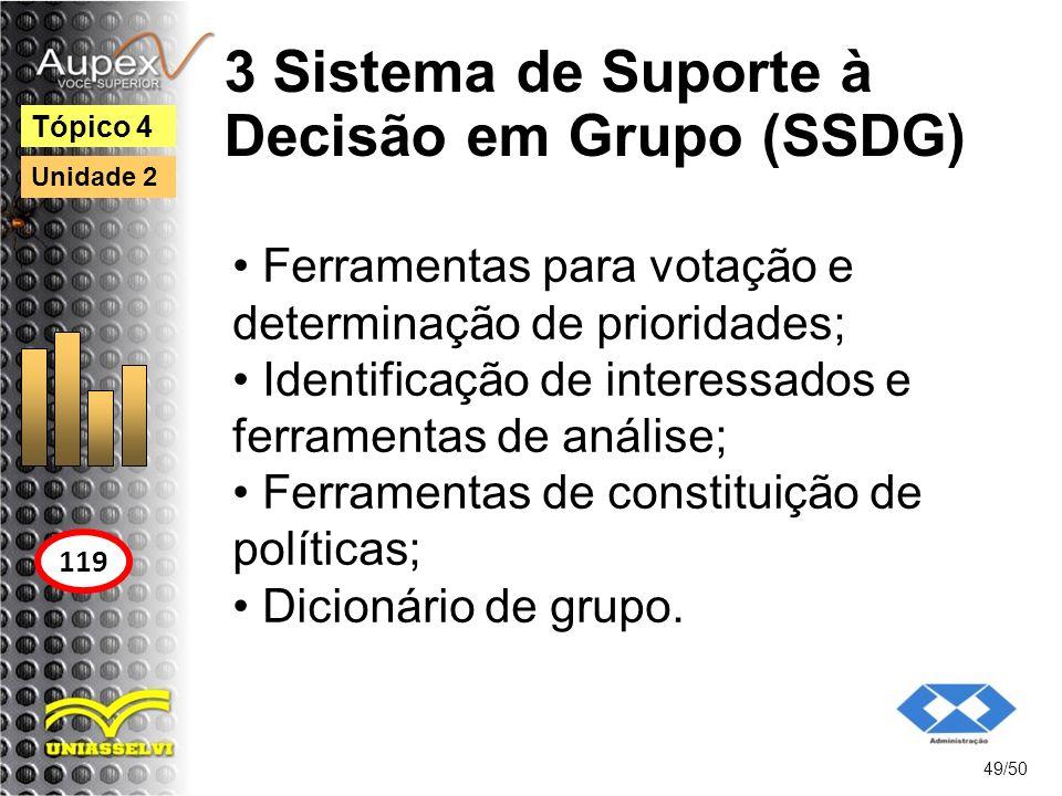 3 Sistema de Suporte à Decisão em Grupo (SSDG) 49/50 Tópico 4 119 Unidade 2 Ferramentas para votação e determinação de prioridades; Identificação de i