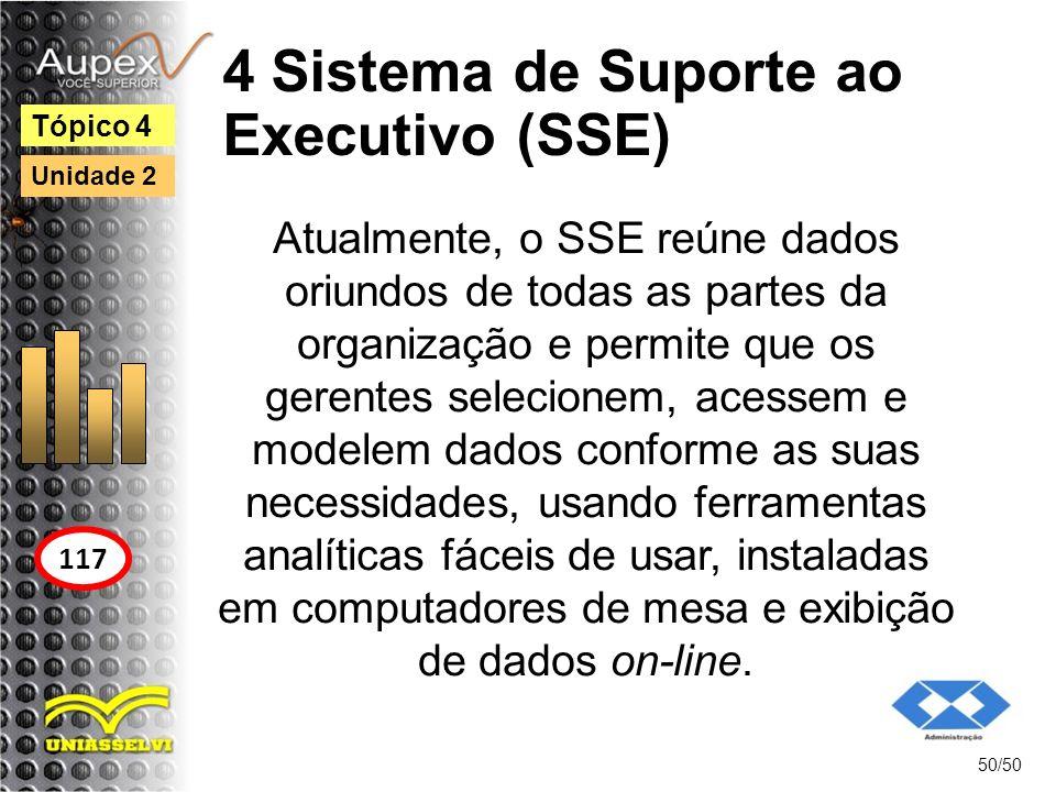 4 Sistema de Suporte ao Executivo (SSE) 50/50 Tópico 4 117 Unidade 2 Atualmente, o SSE reúne dados oriundos de todas as partes da organização e permit