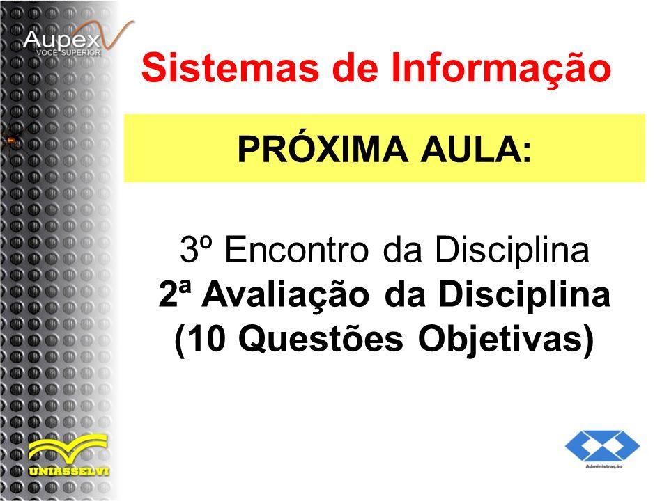 PRÓXIMA AULA: Sistemas de Informação 3º Encontro da Disciplina 2ª Avaliação da Disciplina (10 Questões Objetivas)