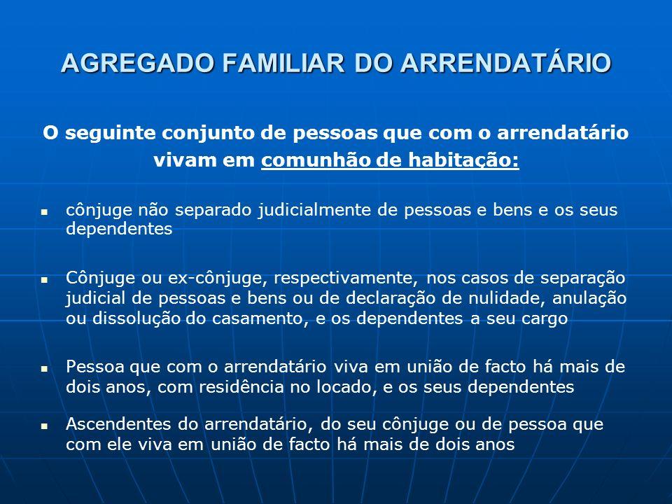 AGREGADO FAMILIAR DO ARRENDATÁRIO O seguinte conjunto de pessoas que com o arrendatário vivam em comunhão de habitação: cônjuge não separado judicialm