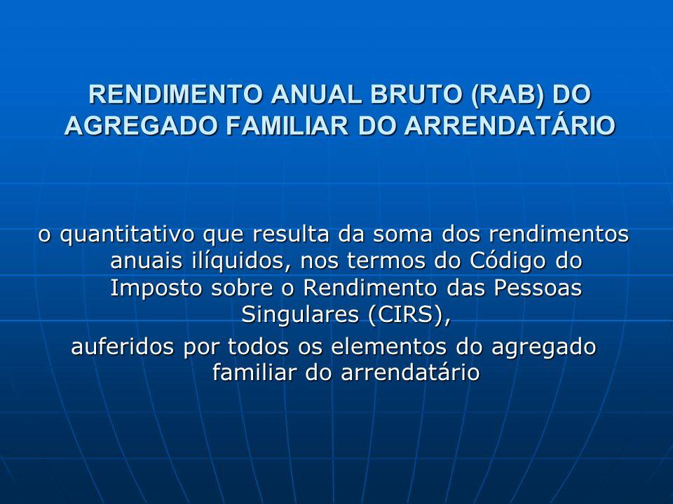 RENDIMENTO ANUAL BRUTO (RAB) DO AGREGADO FAMILIAR DO ARRENDATÁRIO o quantitativo que resulta da soma dos rendimentos anuais ilíquidos, nos termos do C