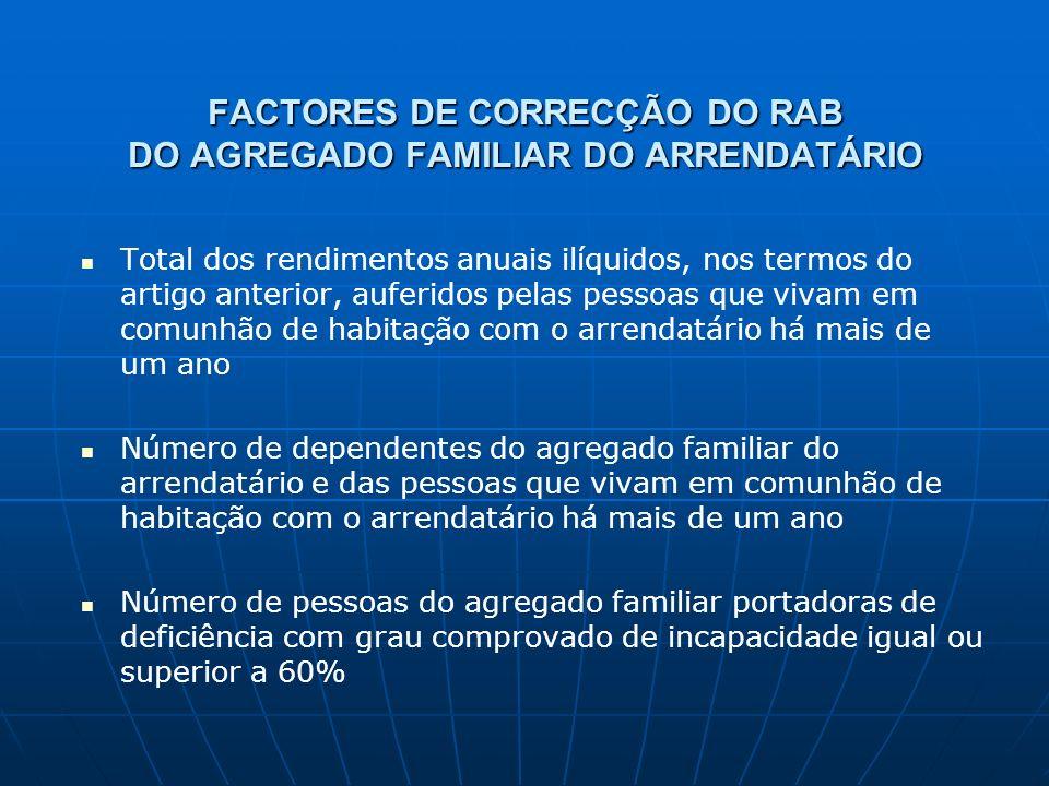 FACTORES DE CORRECÇÃO DO RAB DO AGREGADO FAMILIAR DO ARRENDATÁRIO Total dos rendimentos anuais ilíquidos, nos termos do artigo anterior, auferidos pel