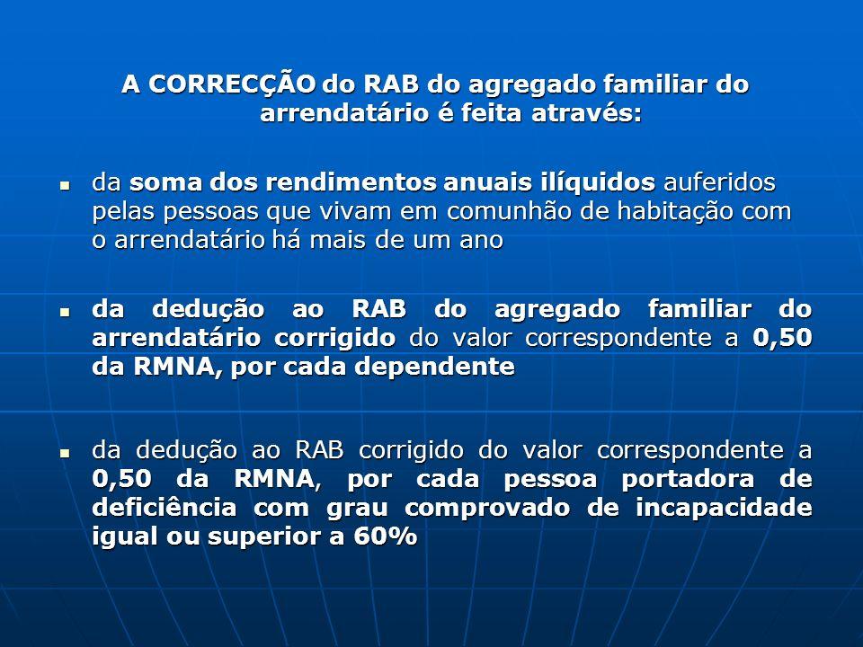 A CORRECÇÃO do RAB do agregado familiar do arrendatário é feita através: da soma dos rendimentos anuais ilíquidos auferidos pelas pessoas que vivam em