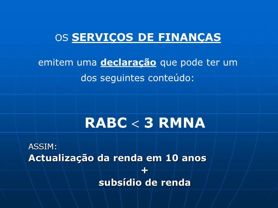 emitem uma declaração que pode ter um dos seguintes conteúdo: RABC 3 RMNAASSIM: Actualização da renda em 10 anos + subsídio de renda