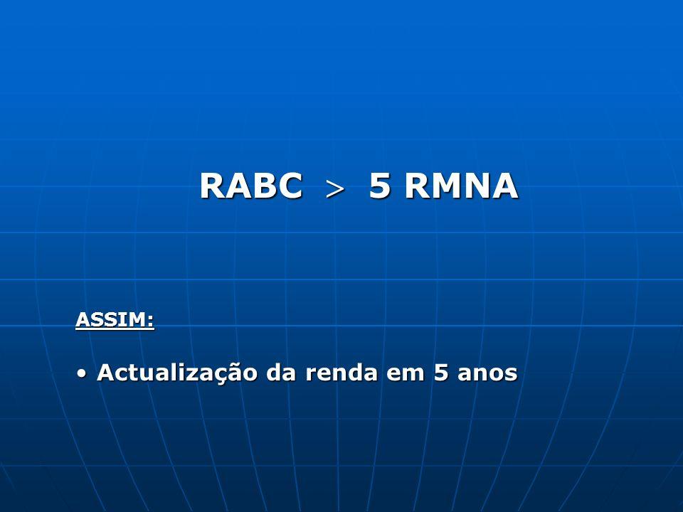 RABC 5 RMNA ASSIM: Actualização da renda em 5 anosActualização da renda em 5 anos