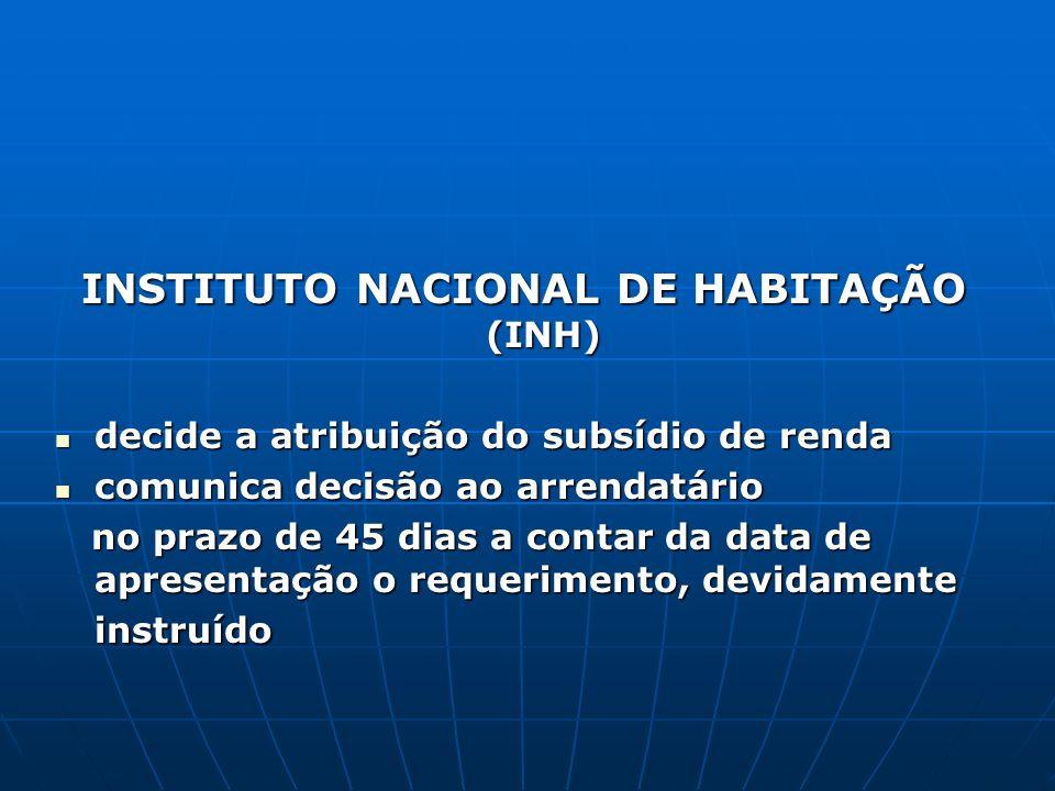 INSTITUTO NACIONAL DE HABITAÇÃO (INH) decide a atribuição do subsídio de renda decide a atribuição do subsídio de renda comunica decisão ao arrendatár