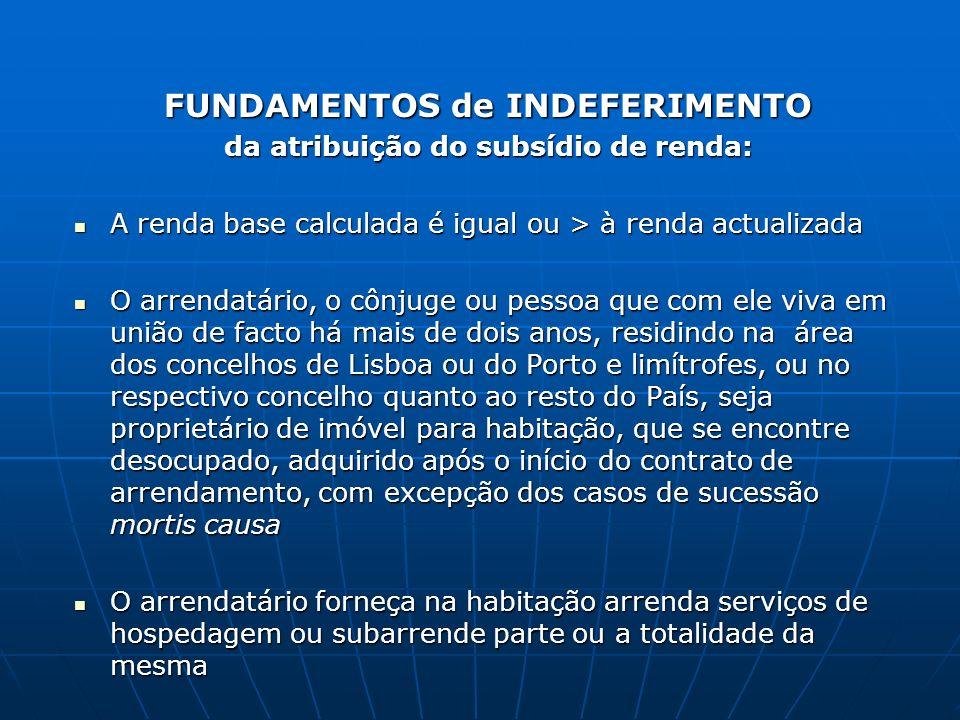 FUNDAMENTOS de INDEFERIMENTO da atribuição do subsídio de renda: A renda base calculada é igual ou > à renda actualizada A renda base calculada é igua