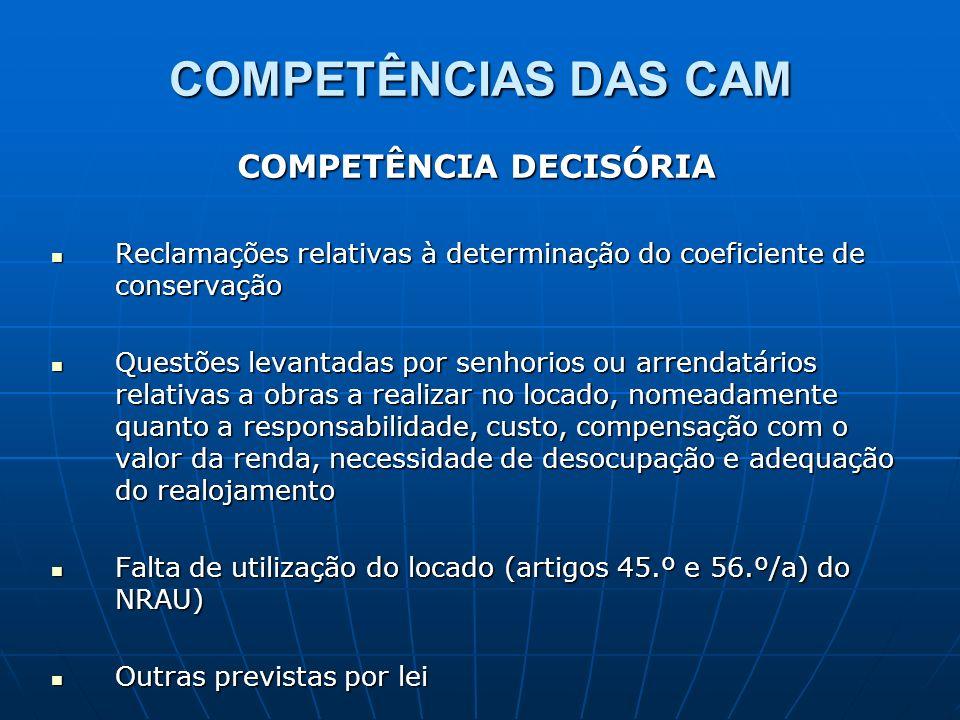 COMPETÊNCIAS DAS CAM COMPETÊNCIA DECISÓRIA Reclamações relativas à determinação do coeficiente de conservação Reclamações relativas à determinação do
