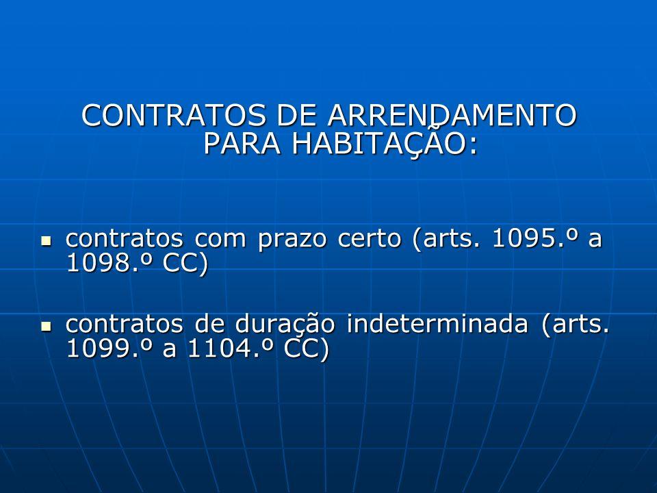 CONTRATOS DE ARRENDAMENTO PARA HABITAÇÃO: contratos com prazo certo (arts. 1095.º a 1098.º CC) contratos com prazo certo (arts. 1095.º a 1098.º CC) co