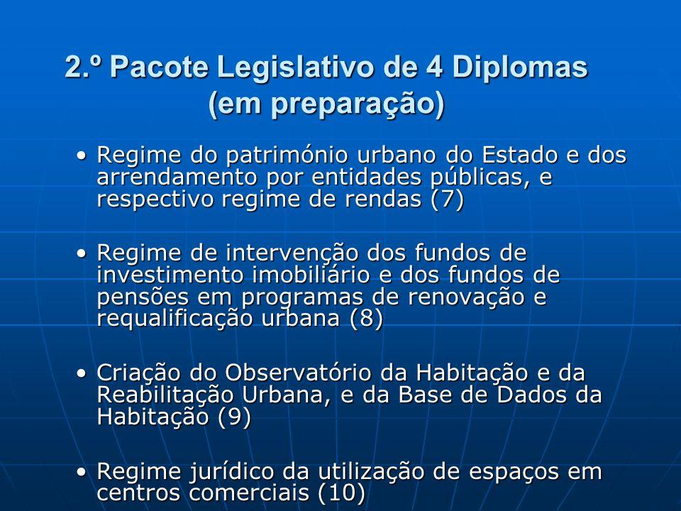 2.º Pacote Legislativo de 4 Diplomas (em preparação) Regime do património urbano do Estado e dos arrendamento por entidades públicas, e respectivo reg