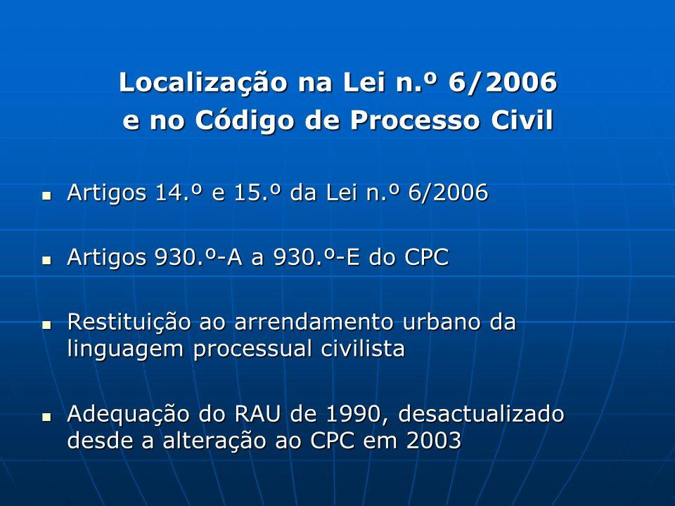 Localização na Lei n.º 6/2006 e no Código de Processo Civil Artigos 14.º e 15.º da Lei n.º 6/2006 Artigos 14.º e 15.º da Lei n.º 6/2006 Artigos 930.º-