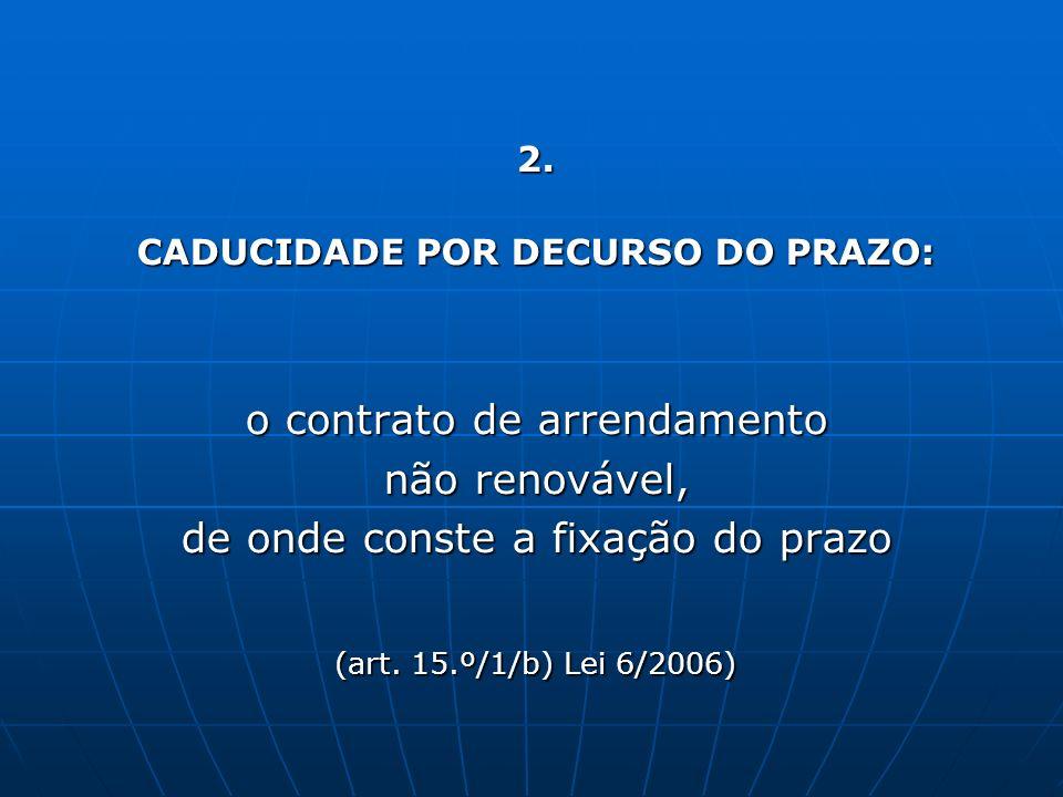 2. CADUCIDADE POR DECURSO DO PRAZO: o contrato de arrendamento não renovável, de onde conste a fixação do prazo (art. 15.º/1/b) Lei 6/2006)