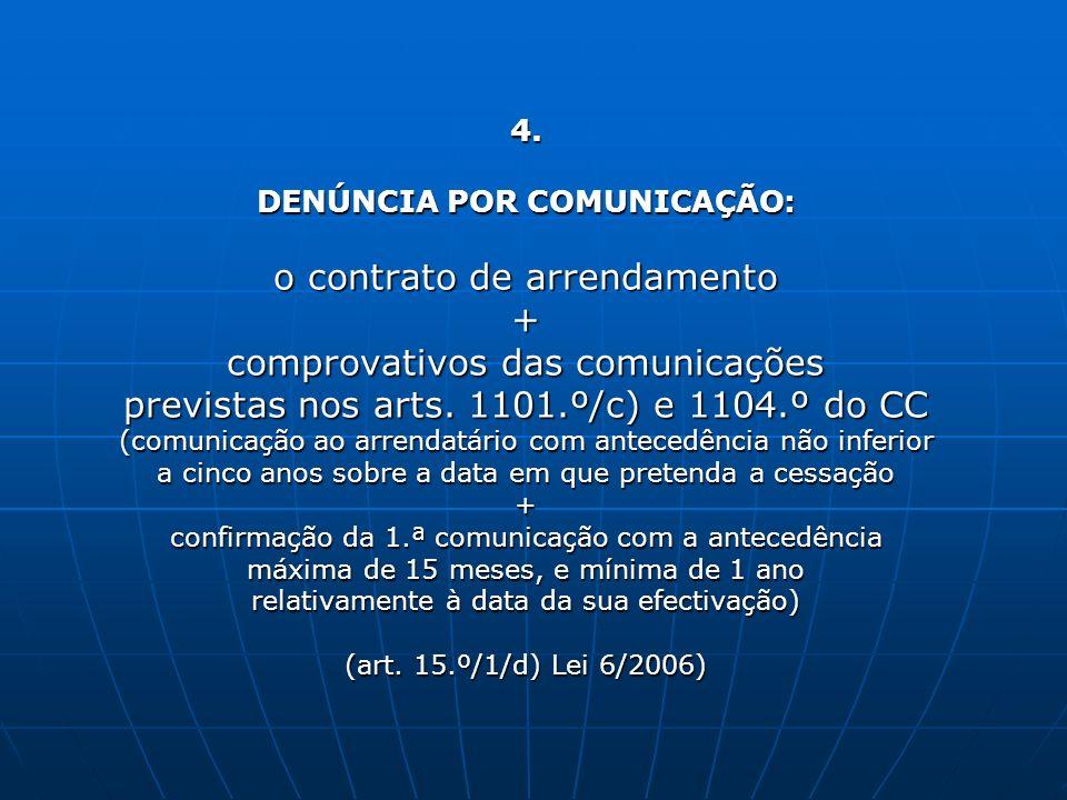 4. DENÚNCIA POR COMUNICAÇÃO: o contrato de arrendamento + comprovativos das comunicações previstas nos arts. 1101.º/c) e 1104.º do CC (comunicação ao