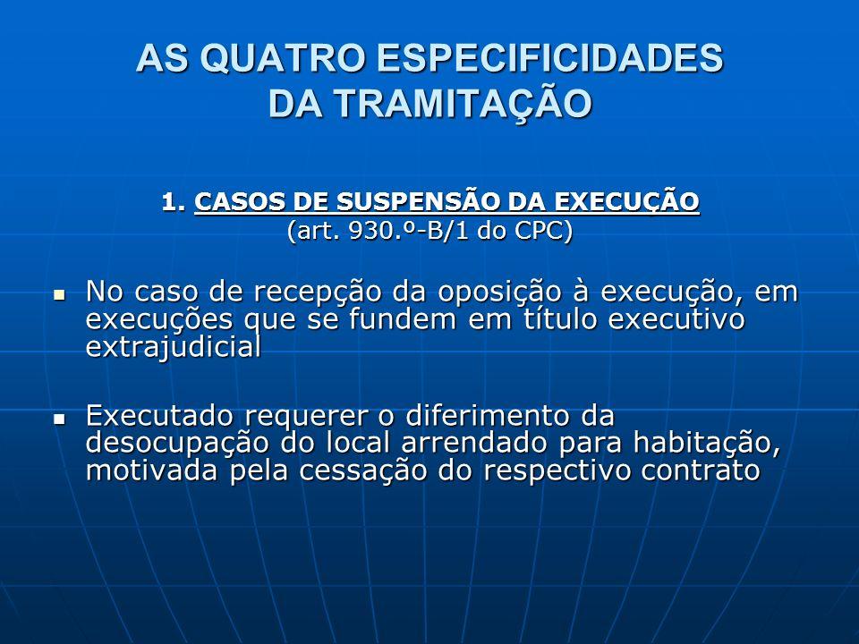 AS QUATRO ESPECIFICIDADES DA TRAMITAÇÃO 1. CASOS DE SUSPENSÃO DA EXECUÇÃO (art. 930.º-B/1 do CPC) No caso de recepção da oposição à execução, em execu