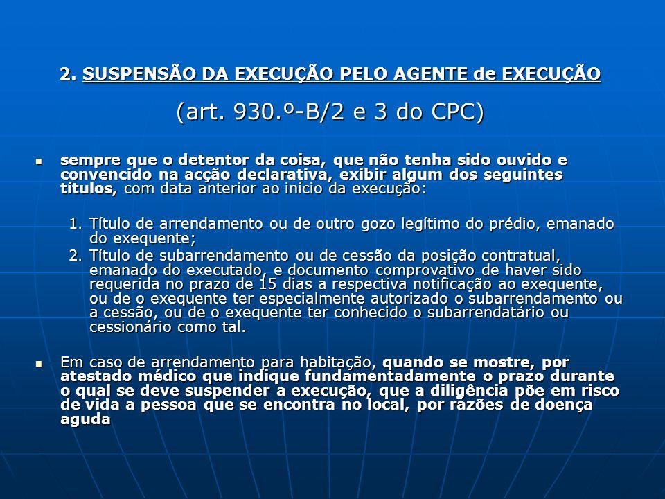 2. SUSPENSÃO DA EXECUÇÃO PELO AGENTE de EXECUÇÃO (art. 930.º-B/2 e 3 do CPC) sempre que o detentor da coisa, que não tenha sido ouvido e convencido na