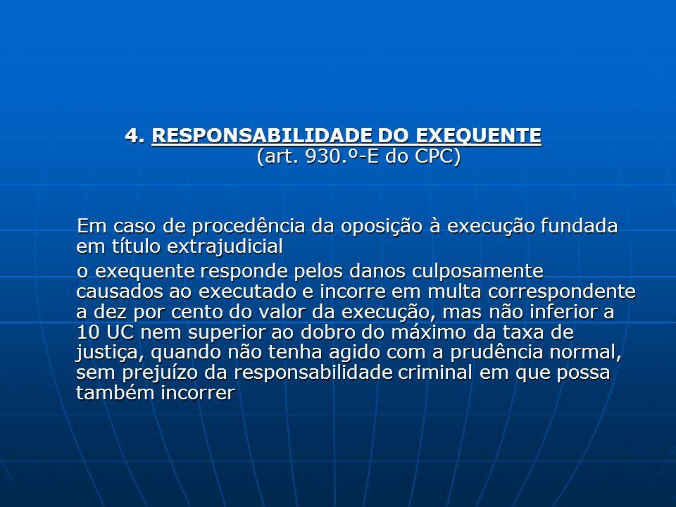 4. RESPONSABILIDADE DO EXEQUENTE (art. 930.º-E do CPC) Em caso de procedência da oposição à execução fundada em título extrajudicial Em caso de proced