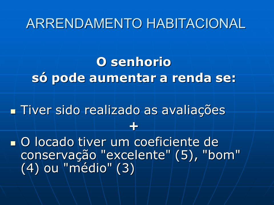 ARRENDAMENTO HABITACIONAL O senhorio só pode aumentar a renda se: Tiver sido realizado as avaliações Tiver sido realizado as avaliações+ O locado tive