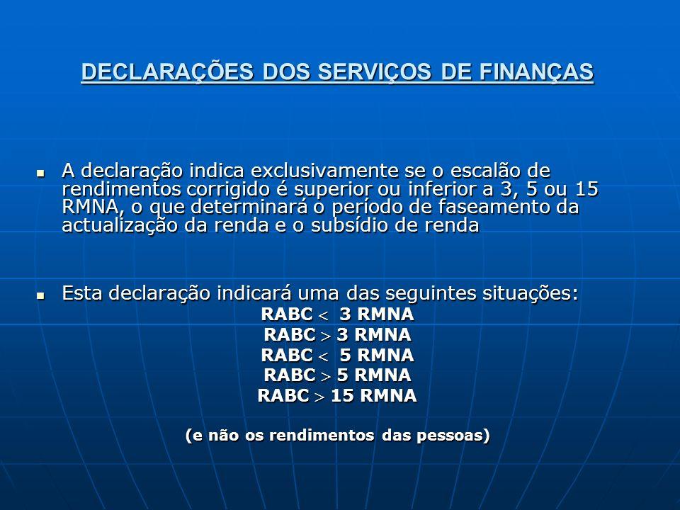 DECLARAÇÕES DOS SERVIÇOS DE FINANÇAS A declaração indica exclusivamente se o escalão de rendimentos corrigido é superior ou inferior a 3, 5 ou 15 RMNA