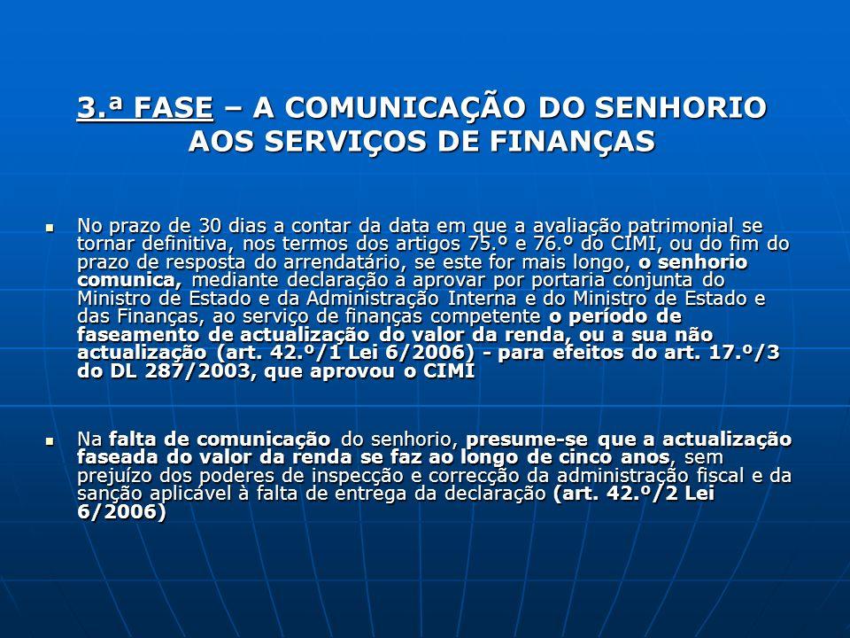 3.ª FASE – A COMUNICAÇÃO DO SENHORIO AOS SERVIÇOS DE FINANÇAS No prazo de 30 dias a contar da data em que a avaliação patrimonial se tornar definitiva