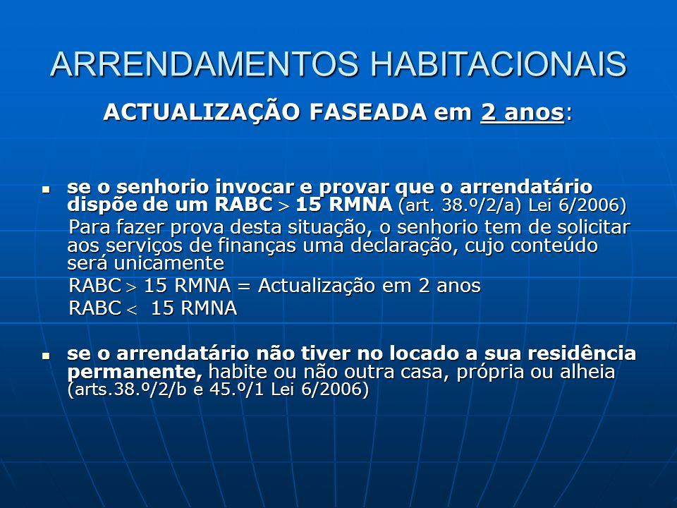 ARRENDAMENTOS HABITACIONAIS ACTUALIZAÇÃO FASEADA em 2 anos: se o senhorio invocar e provar que o arrendatário dispõe de um RABC 15 RMNA (art. 38.º/2/a