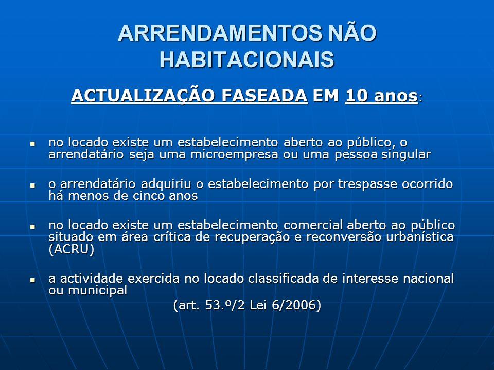 ARRENDAMENTOS NÃO HABITACIONAIS ACTUALIZAÇÃO FASEADA EM 10 anos : no locado existe um estabelecimento aberto ao público, o arrendatário seja uma micro