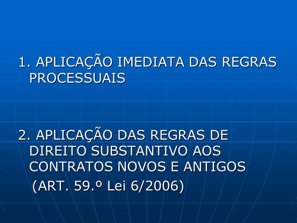 1. APLICAÇÃO IMEDIATA DAS REGRAS PROCESSUAIS 2. APLICAÇÃO DAS REGRAS DE DIREITO SUBSTANTIVO AOS CONTRATOS NOVOS E ANTIGOS (ART. 59.º Lei 6/2006) (ART.