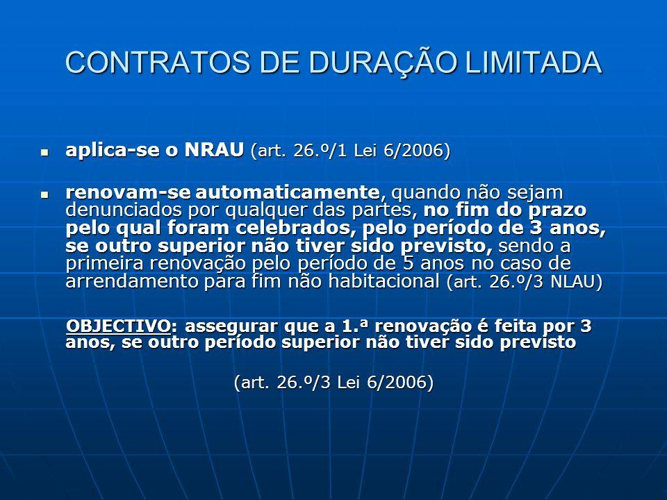 CONTRATOS DE DURAÇÃO LIMITADA aplica-se o NRAU (art. 26.º/1 Lei 6/2006) aplica-se o NRAU (art. 26.º/1 Lei 6/2006) renovam-se automaticamente, quando n