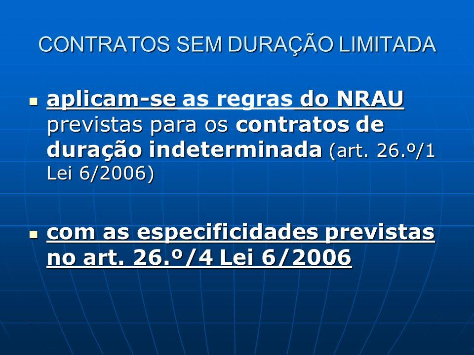 CONTRATOS SEM DURAÇÃO LIMITADA aplicam-se do NRAU previstas para os contratos de duração indeterminada (art. 26.º/1 Lei 6/2006) aplicam-se as regras d