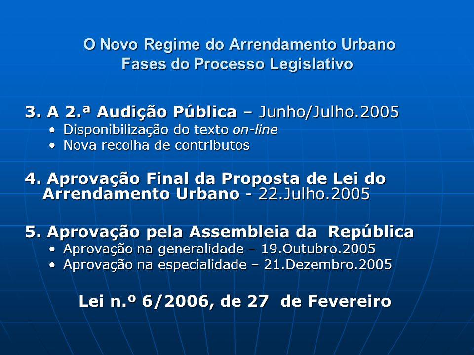O Novo Regime do Arrendamento Urbano Fases do Processo Legislativo O Novo Regime do Arrendamento Urbano Fases do Processo Legislativo 3. A 2.ª Audição