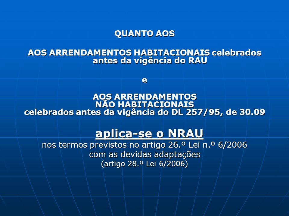 QUANTO AOS AOS ARRENDAMENTOS HABITACIONAIS celebrados antes da vigência do RAU e AOS ARRENDAMENTOS NÃO HABITACIONAIS celebrados antes da vigência do D