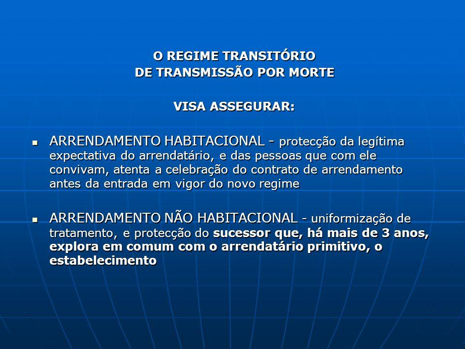 O REGIME TRANSITÓRIO DE TRANSMISSÃO POR MORTE VISA ASSEGURAR: ARRENDAMENTO HABITACIONAL - protecção da legítima expectativa do arrendatário, e das pes