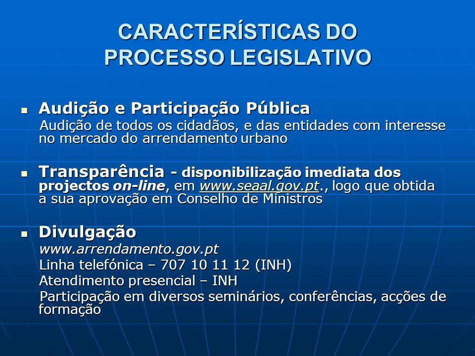 CARACTERÍSTICAS DO PROCESSO LEGISLATIVO Audição e Participação Pública Audição e Participação Pública Audição de todos os cidadãos, e das entidades co