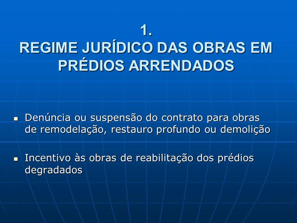 1. REGIME JURÍDICO DAS OBRAS EM PRÉDIOS ARRENDADOS Denúncia ou suspensão do contrato para obras de remodelação, restauro profundo ou demolição Denúnci