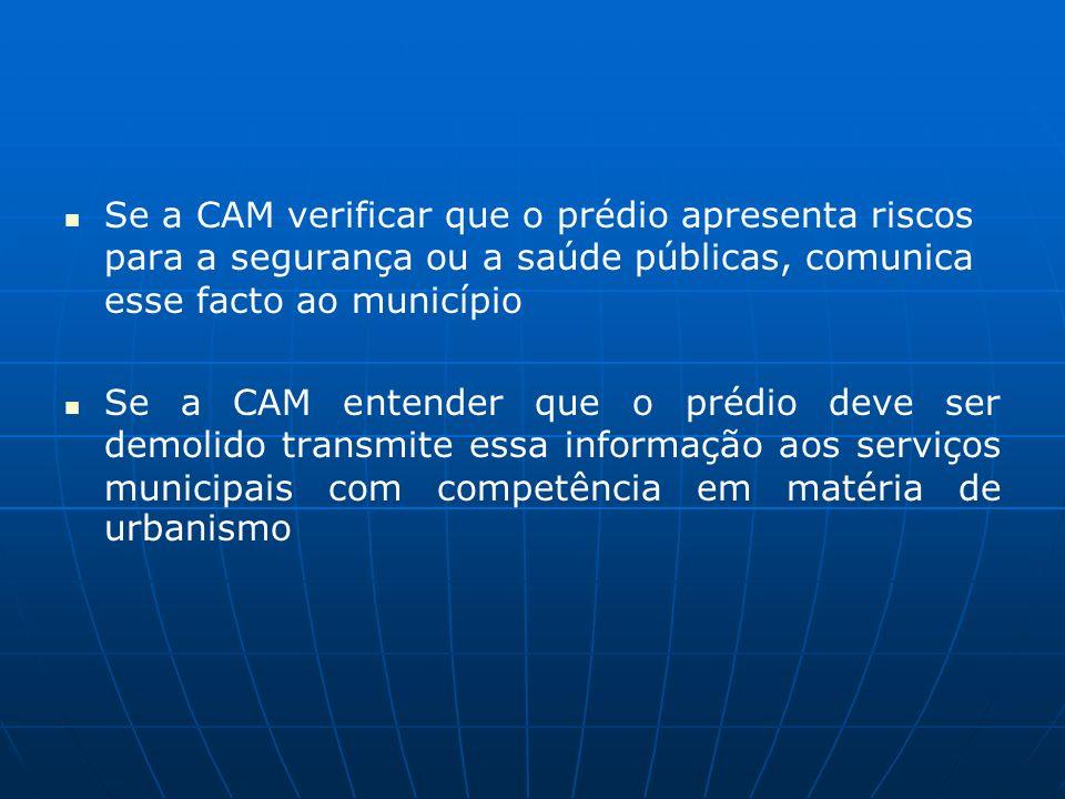 Se a CAM verificar que o prédio apresenta riscos para a segurança ou a saúde públicas, comunica esse facto ao município Se a CAM entender que o prédio