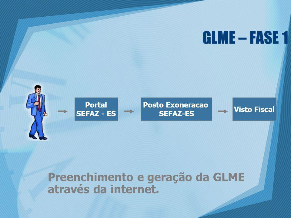 GLME – FASE 1 Preenchimento e geração da GLME através da internet. Portal SEFAZ - ES Posto Exoneracao SEFAZ-ES Visto Fiscal