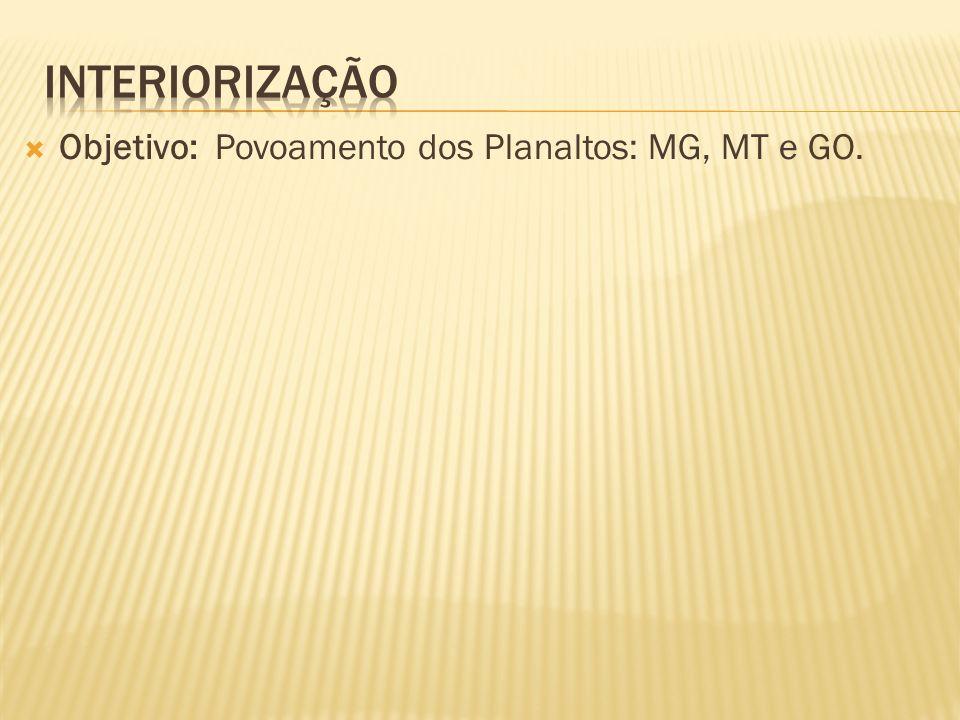 Objetivo: Povoamento dos Planaltos: MG, MT e GO.