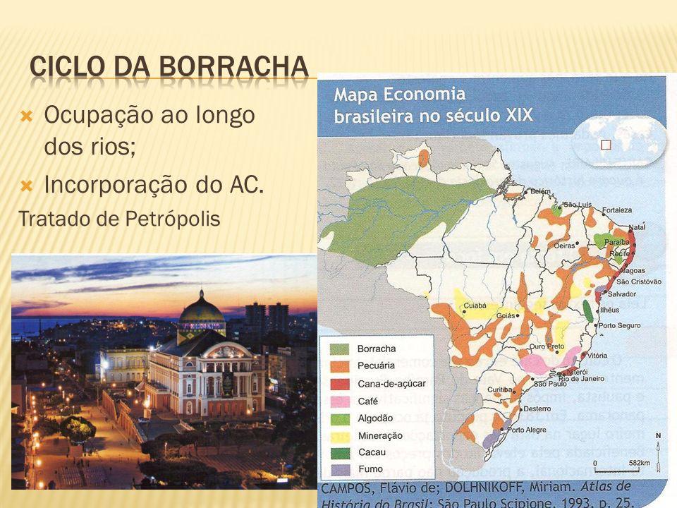 Ocupação ao longo dos rios; Incorporação do AC. Tratado de Petrópolis