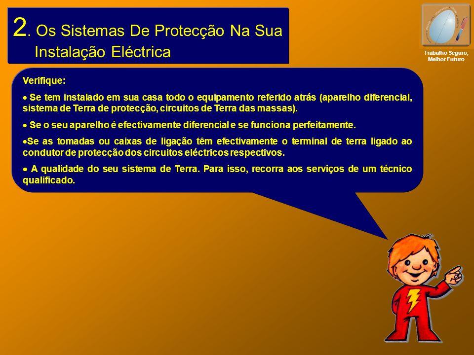 2. Os Sistemas De Protecção Na Sua Instalação Eléctrica Trabalho Seguro, Melhor Futuro Verifique: Se tem instalado em sua casa todo o equipamento refe