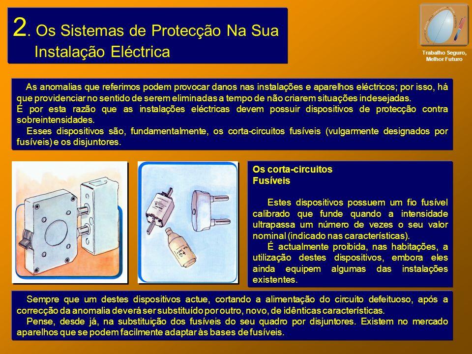 2. Os Sistemas de Protecção Na Sua Instalação Eléctrica Trabalho Seguro, Melhor Futuro As anomalias que referimos podem provocar danos nas instalações