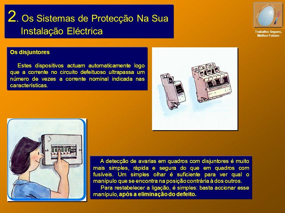 2. Os Sistemas de Protecção Na Sua Instalação Eléctrica Trabalho Seguro, Melhor Futuro Os disjuntores Estes dispositivos actuam automaticamente logo q