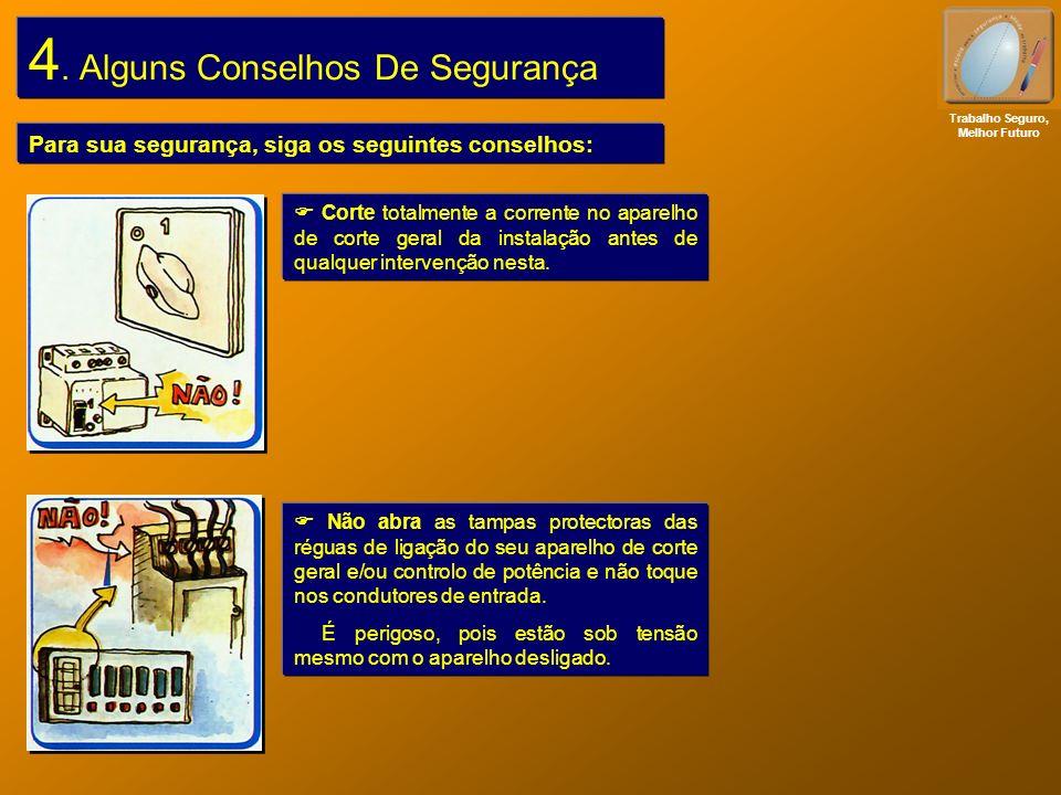 4. Alguns Conselhos De Segurança Para sua segurança, siga os seguintes conselhos: Corte totalmente a corrente no aparelho de corte geral da instalação