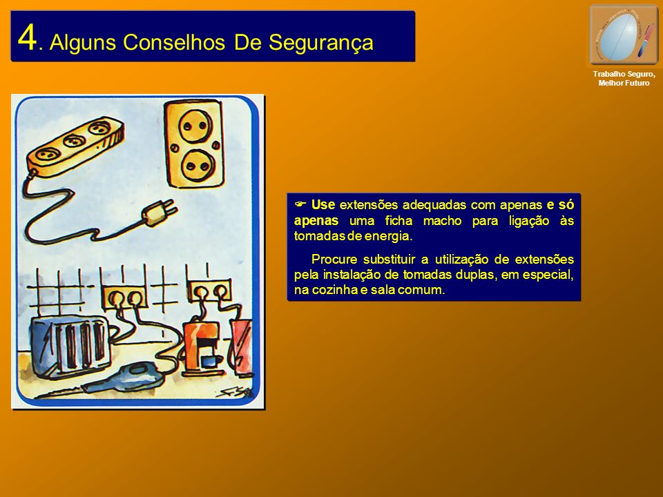4. Alguns Conselhos De Segurança Use extensões adequadas com apenas e só apenas uma ficha macho para ligação às tomadas de energia. Procure substituir