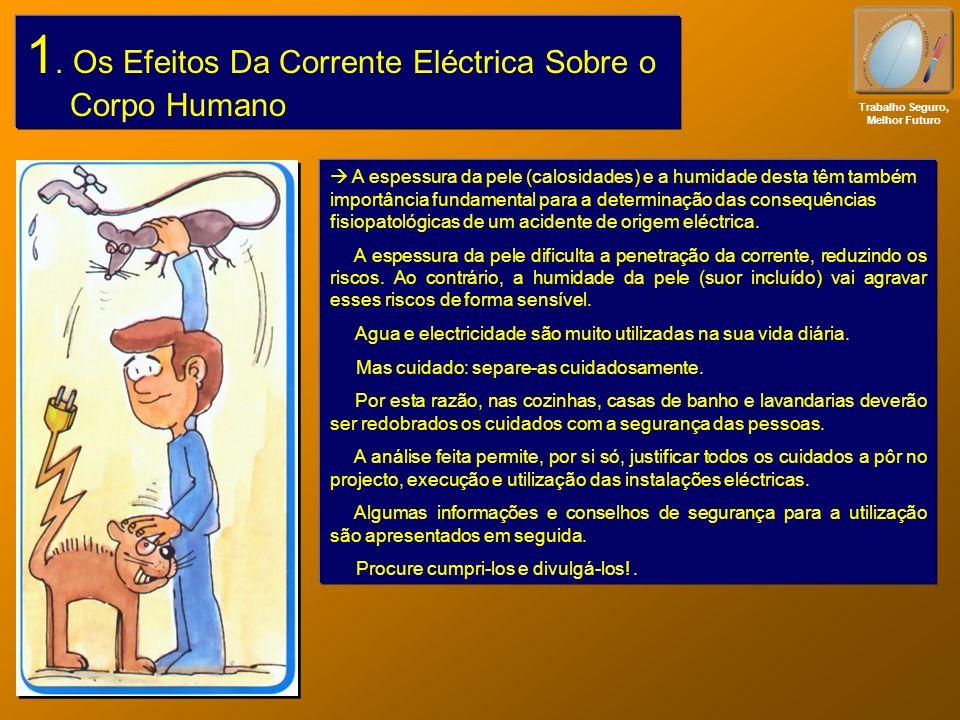 1. Os Efeitos Da Corrente Eléctrica Sobre o Corpo Humano Trabalho Seguro, Melhor Futuro A espessura da pele (calosidades) e a humidade desta têm també