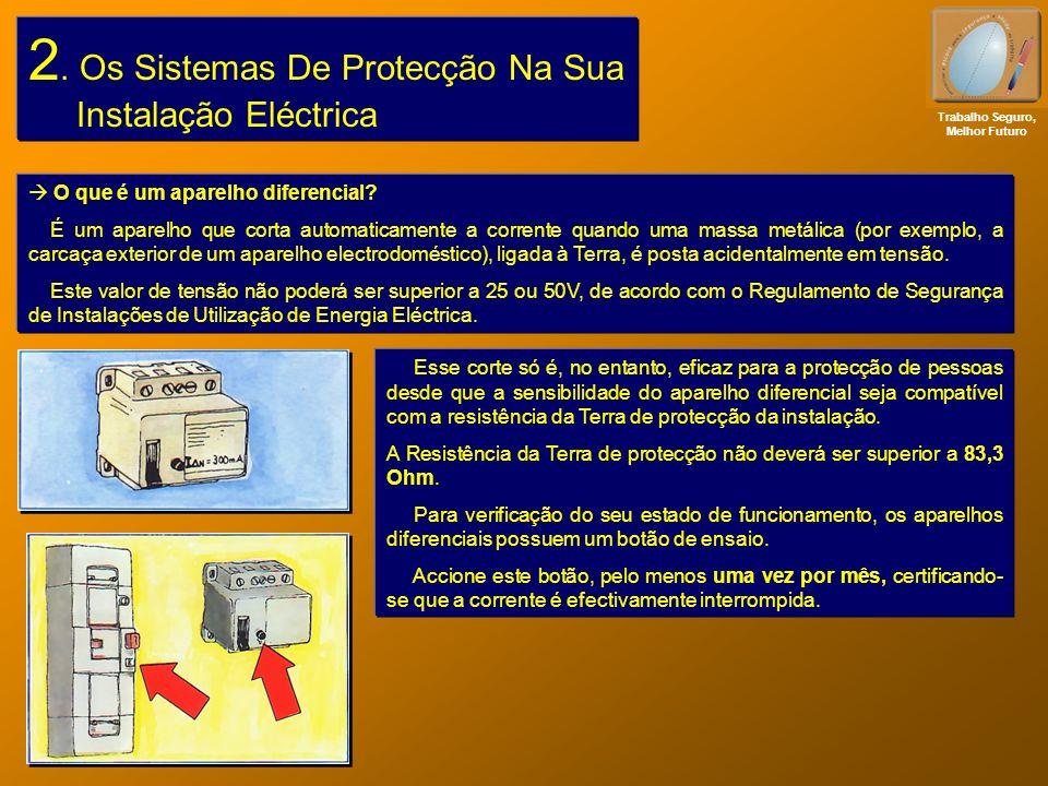 2. Os Sistemas De Protecção Na Sua Instalação Eléctrica Trabalho Seguro, Melhor Futuro O que é um aparelho diferencial? É um aparelho que corta automa