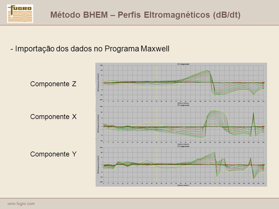 www.fugro.com - Importação dos dados no Programa Maxwell Componente Z Componente X Componente Y Método BHEM – Perfis Eltromagnéticos (dB/dt)