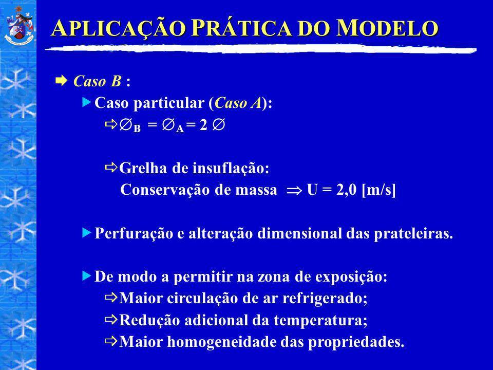 A PLICAÇÃO P RÁTICA DO M ODELO Caso B : Caso particular (Caso A): B = A = 2 Grelha de insuflação: Conservação de massa U = 2,0 [m/s] Perfuração e alteração dimensional das prateleiras.