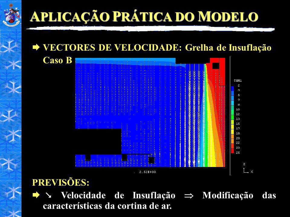 A PLICAÇÃO P RÁTICA DO M ODELO VECTORES DE VELOCIDADE: Grelha de Insuflação Caso B PREVISÕES: Velocidade de Insuflação Modificação das características da cortina de ar.