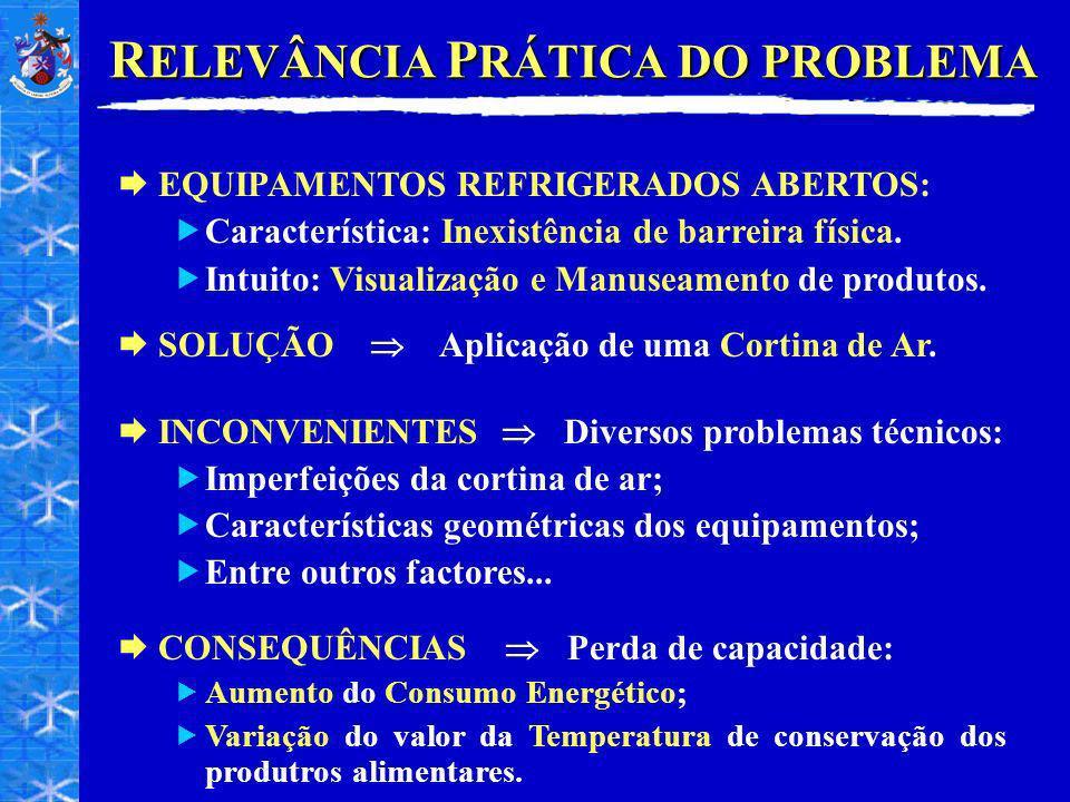 R ELEVÂNCIA P RÁTICA DO PROBLEMA SOLUÇÃO Aplicação de uma Cortina de Ar. INCONVENIENTES Diversos problemas técnicos: Imperfeições da cortina de ar; Ca