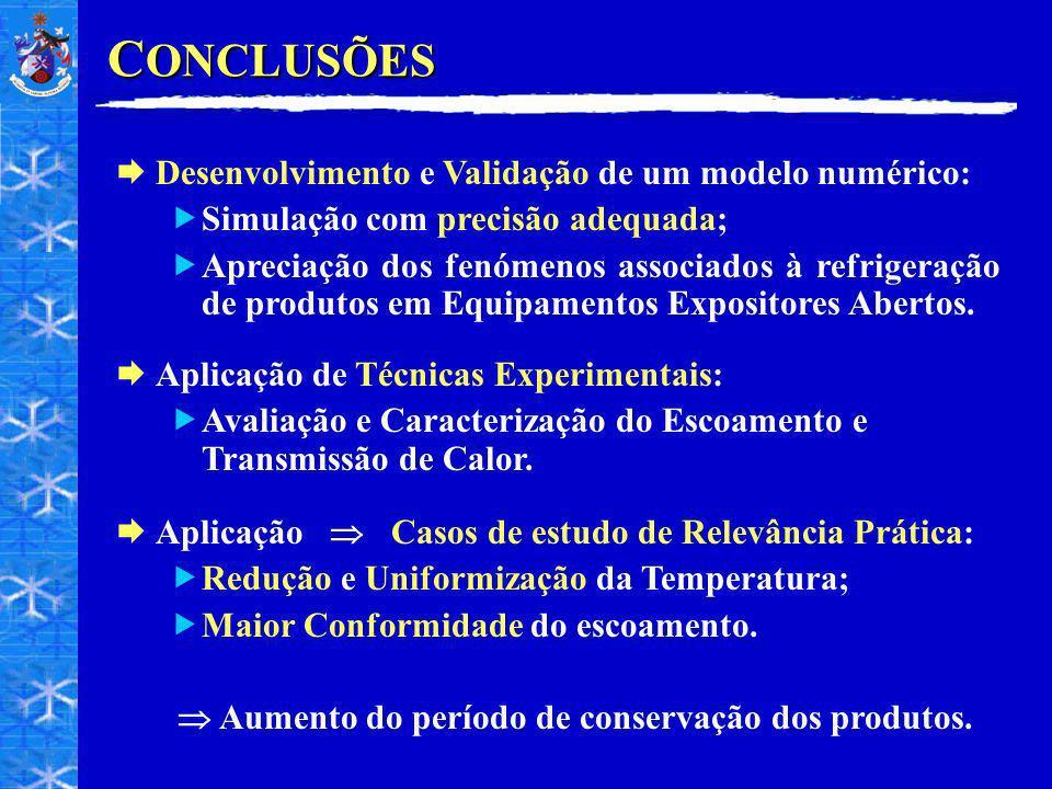 C ONCLUSÕES Desenvolvimento e Validação de um modelo numérico: Simulação com precisão adequada; Apreciação dos fenómenos associados à refrigeração de produtos em Equipamentos Expositores Abertos.